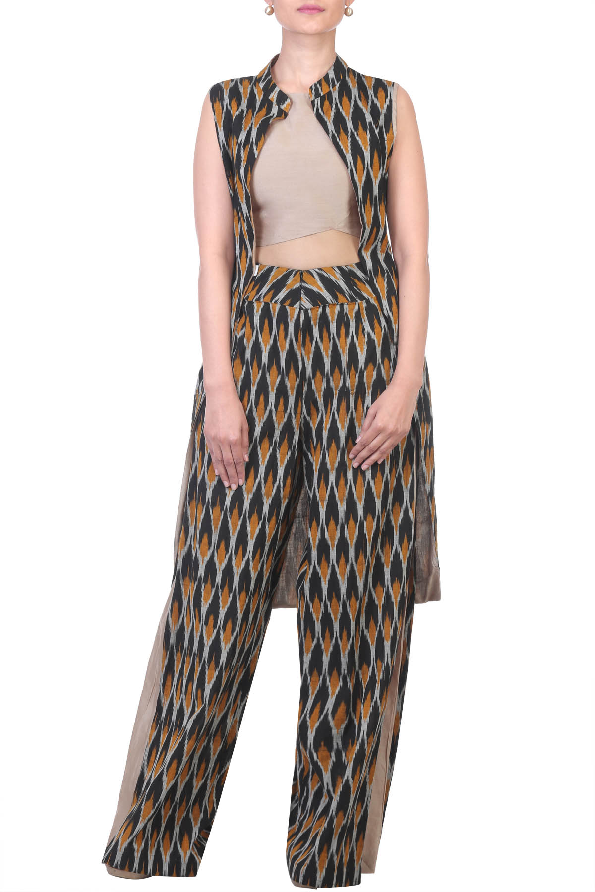 Ikat Cross Over Crop Top with Cape & Palazzo