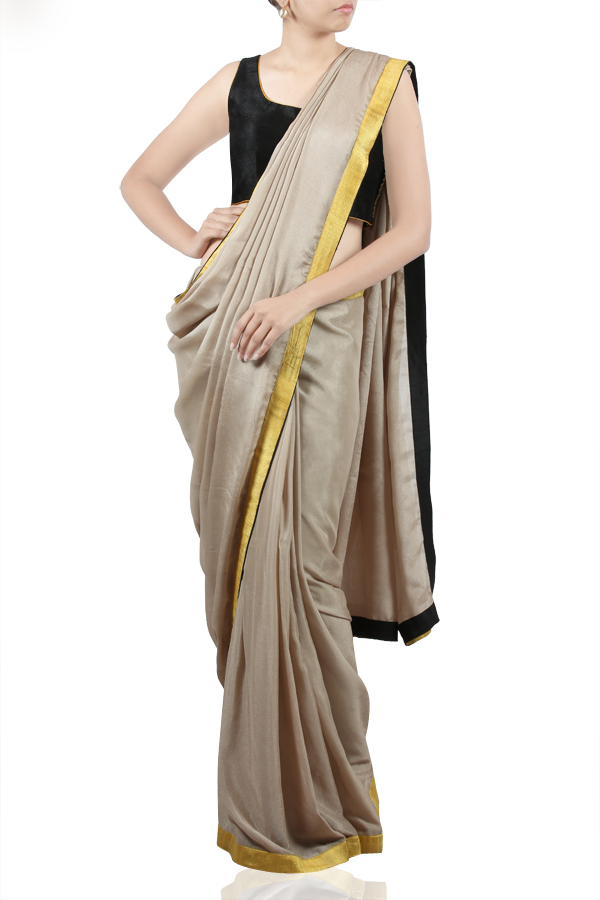 Grey Saree with Embroidered Black Blouse