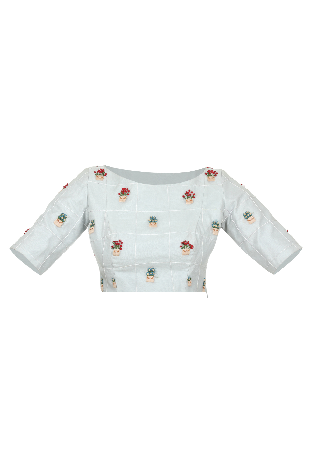 Organza pot embroidery blouse