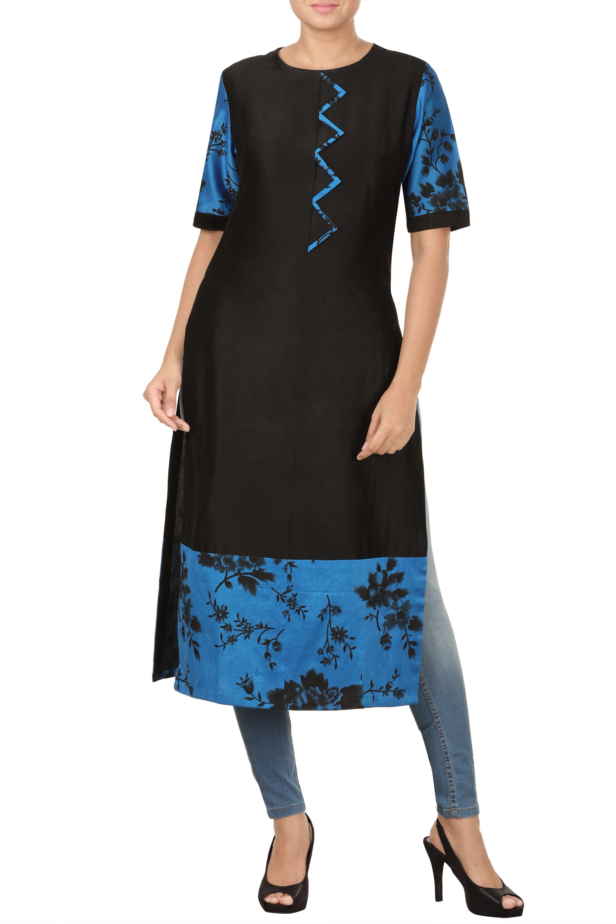 Black & Blue Chanderi Screen Print Kurta
