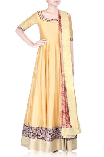 Golden Yellow Long Anarkali Set with Kalamkari Detailing