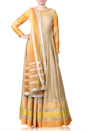Beige Anarkali with Mirror Work Embroidery & ombre Dupatta