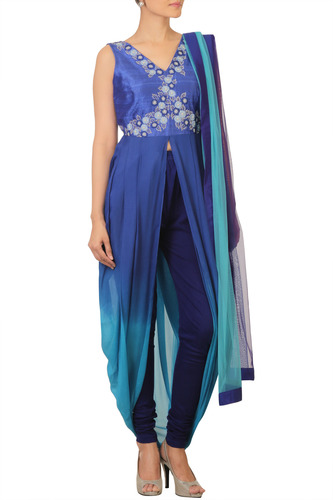 Blue Ombre Draped Tunic with Hand Embroidery