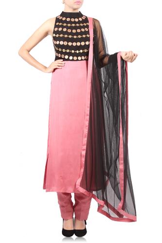 Black & Pink EmbroideRed Kurta with Straight Pants & Black Dupatta