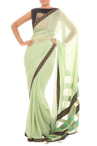 Banaras & pista green saree blouse set