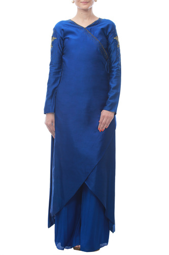 Blue Wrap Over Kurta with Antique Embroidery