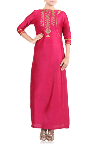Pink Long Tunic with Golden Embroidery