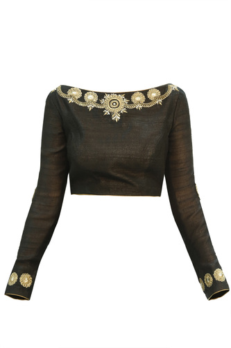 Black Full Sleeves Blouse with Hand Embroidery
