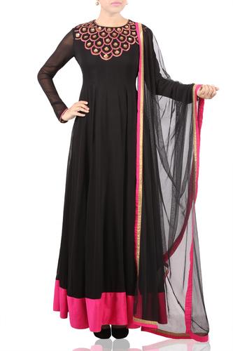 Antique Sequins EmbroideRed Black Anarkali with Dupatta
