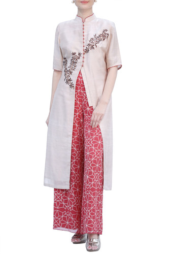Bamboo Motif EmbroideRed Beige Kurta with Red Palazzo