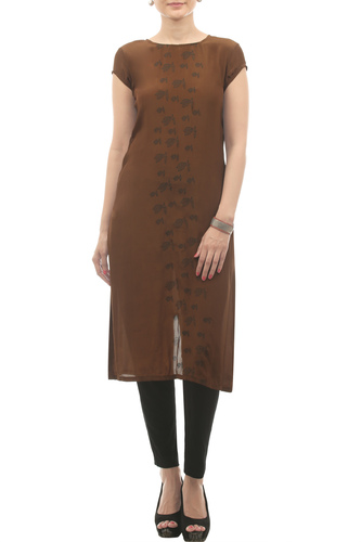 Ash brown top with printed flared sleeves