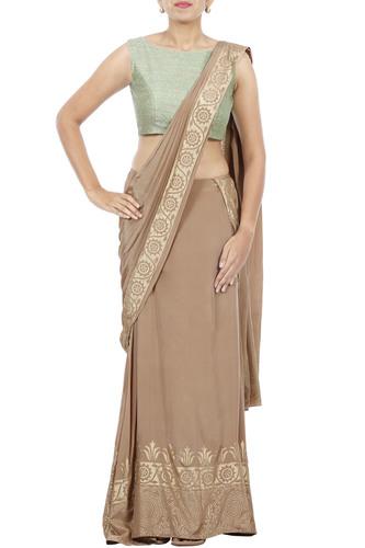 Brown Saree-Lehenga with Print Mint Green Blouse