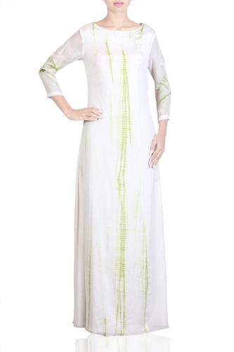 EmbroideRed White & Green Shibori Dress