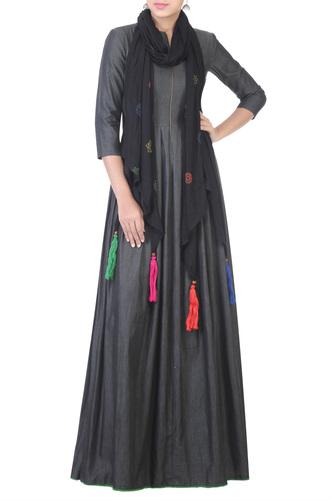Black Shirt Dress With Jersey Jacket