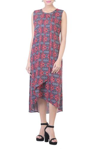 Digital Printed Assymetrical Dress with Grey Jacket