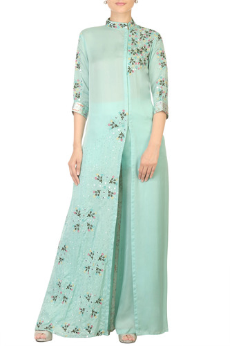 Embroidered Blue Overlap Tunic with Palazzo