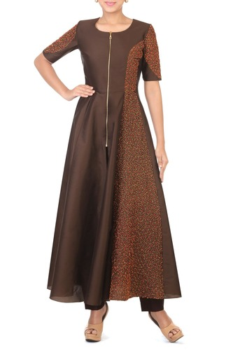 Brown Long Tunic with Straight Pants