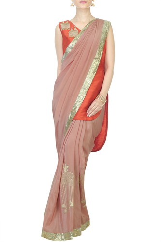 Rose Gold Saree with Orange High Low Kurta