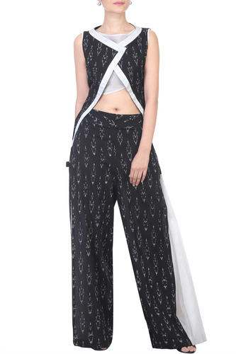 White Crop Top with Printed Ikat Top & Palazzo