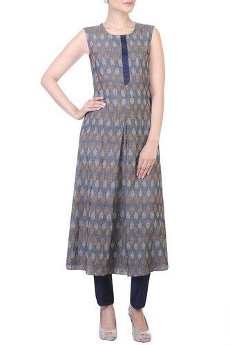 Embroidered Ikat Tunic with Straight Pants