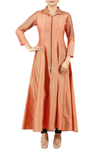 Peach flared kurta with embroidery