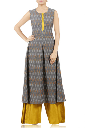 Embroidered Ikat Pleated Tunic with Palazzo