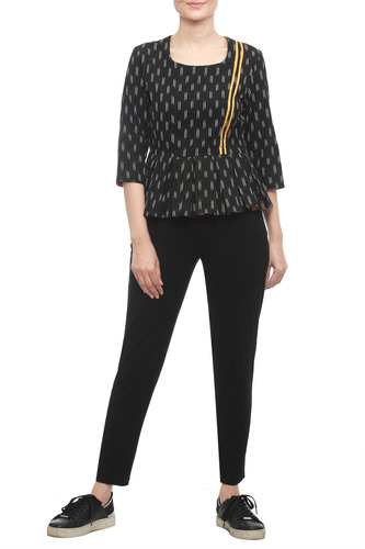 Black Ikat top with Yellow Strips