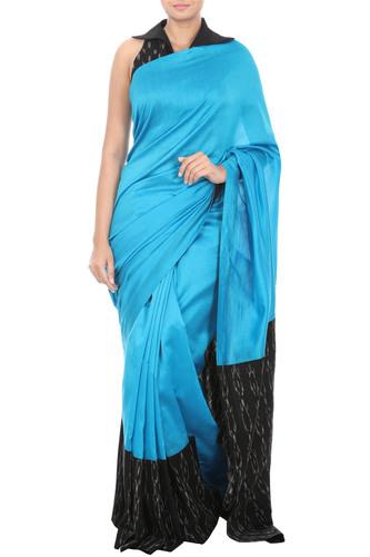Blue Saree with Ikat Border & Black Blouse