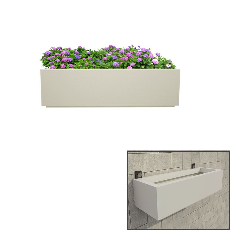 Cream White Box Tray 24 Inches Wall Hanging Planter