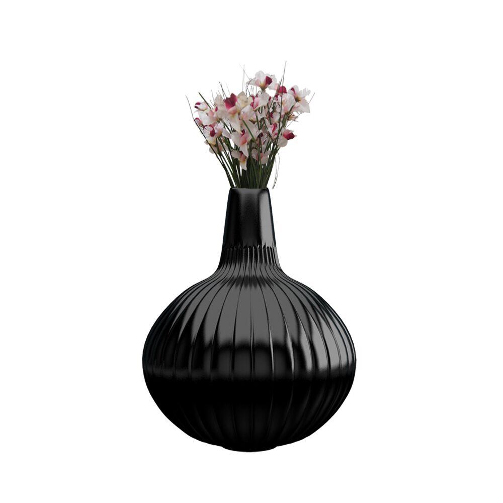 12 inch Black Flower Pot - Vase (Linea)