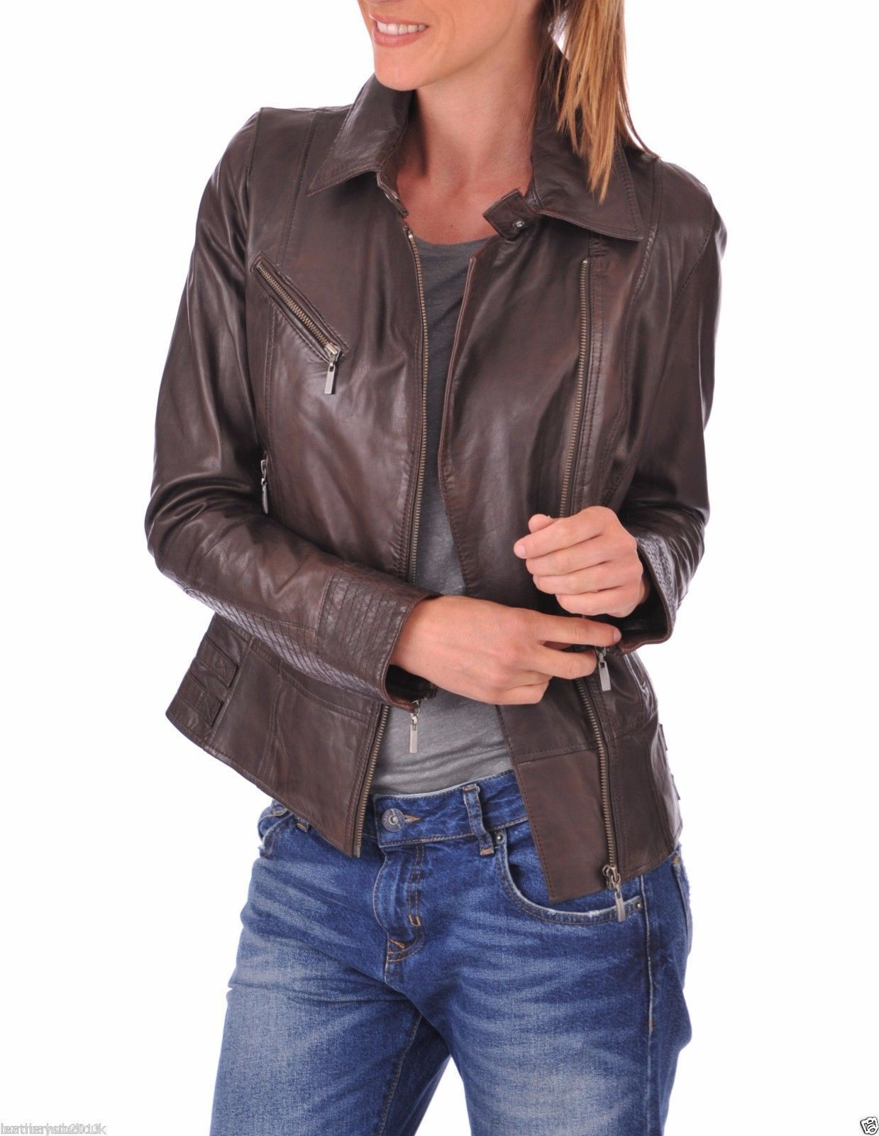Brown colour Leather jackets for Women's