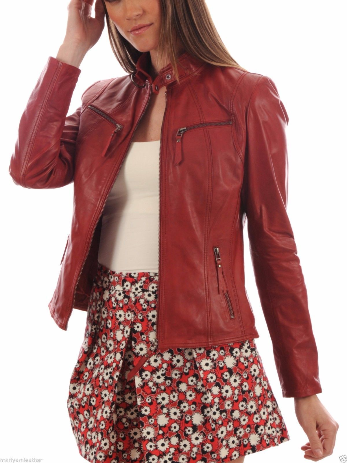 Women's Customised Maroon colour Leather jackets