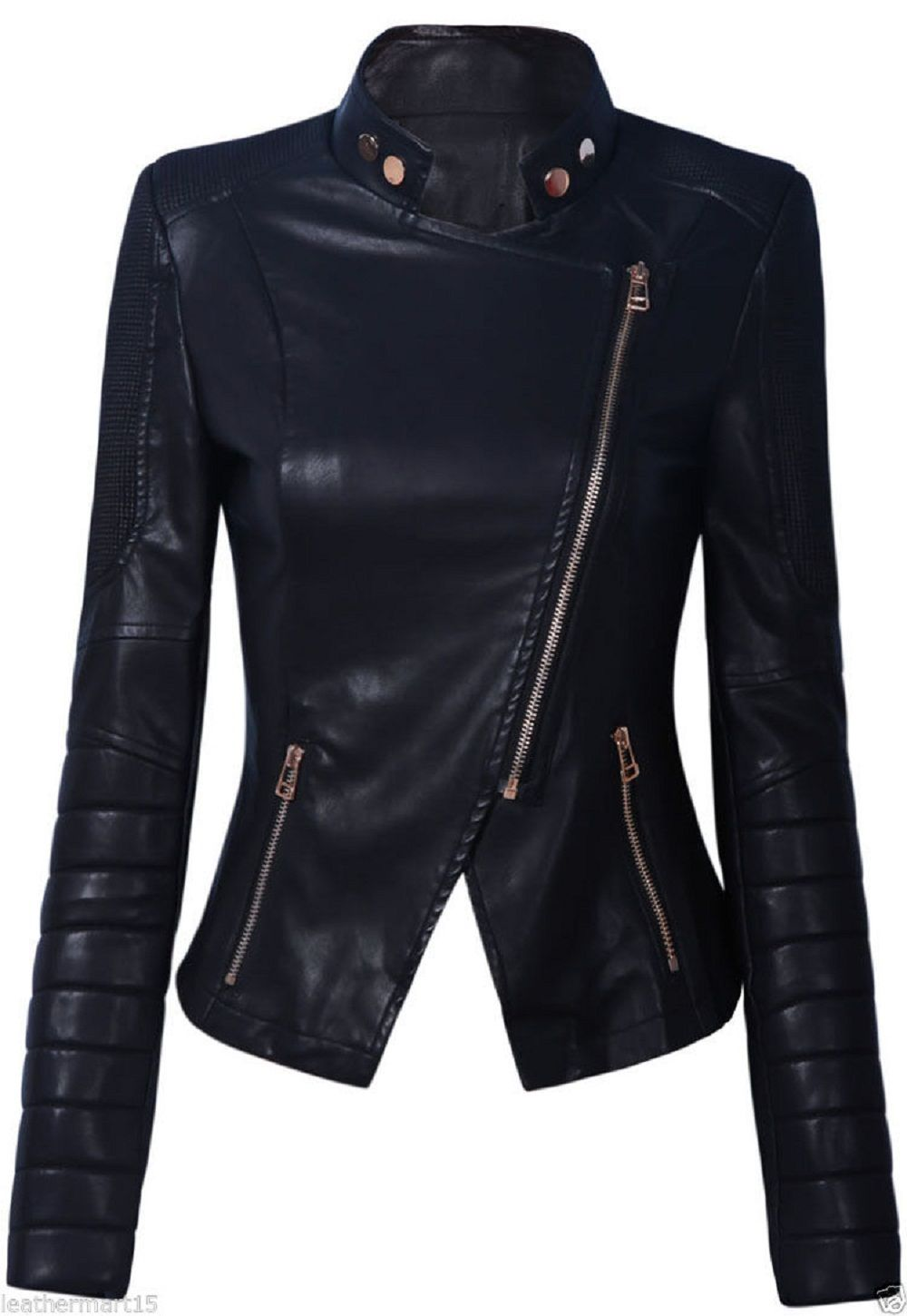 Women's Customised Black colour Leather jackets