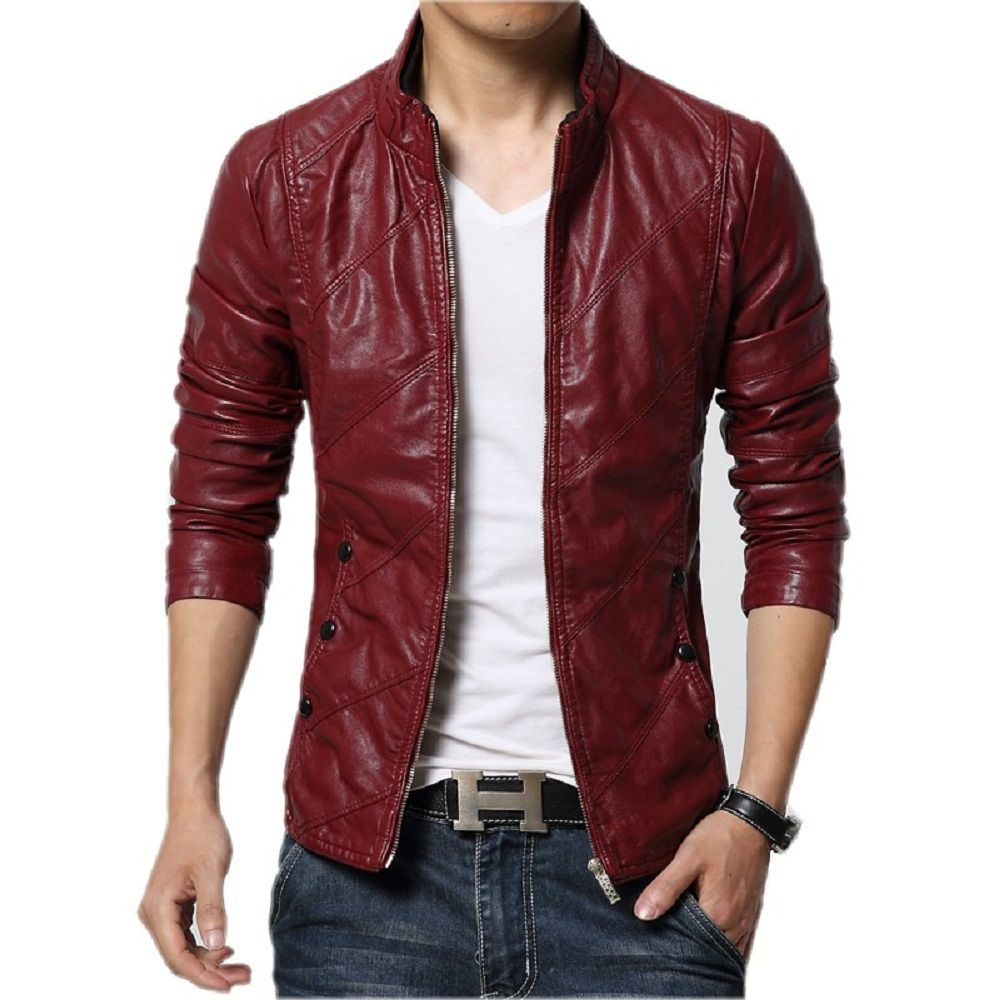 Customised Maroon colour Made men's Leather jackets