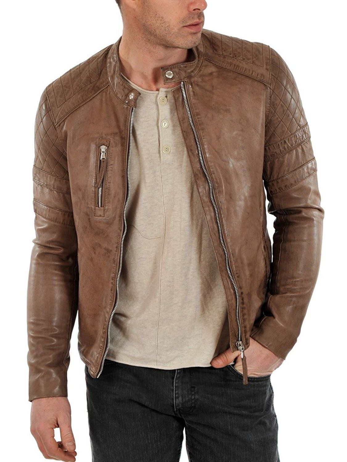 Brown  colour Customised Biker Leather Jacket For Men's
